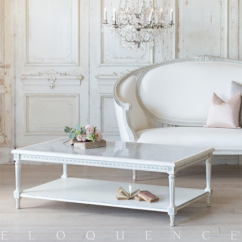 Eloquence® Grande Le Courte 커피테이블: Silver & Antique White Two-Tone Finish